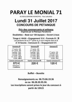 PRIX DES COMMERCANTS ORGANISE PAR LA PETANQUE PARODIENNE. LUNDI 31 JUILLET..