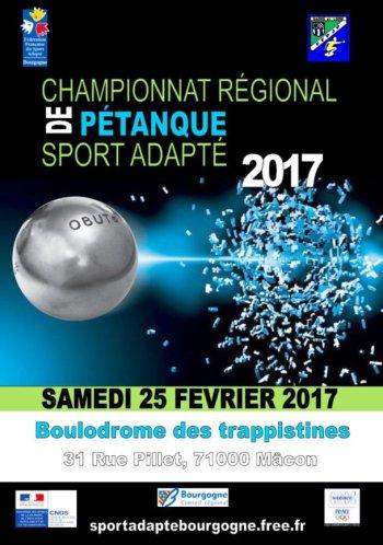 CHAMPIONNAT REGIONAL PETANQUE SPORT ADAPTE . MACON.QUALIFIES CHAMPIONNAT DE FRANCE.