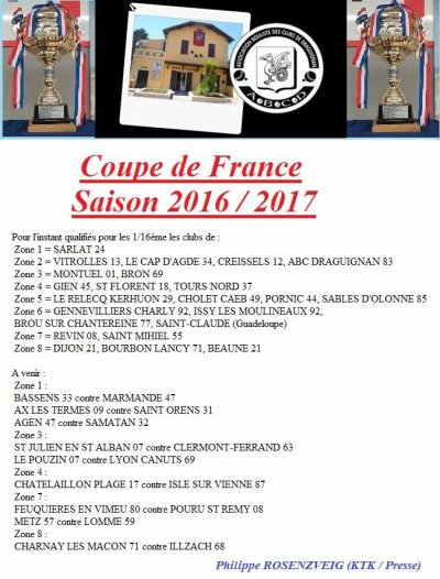 COUPE DE FRANCE DES CLUBS .