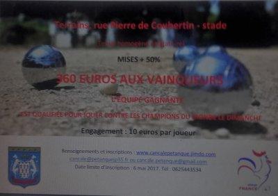 SAMEDI 13 MAI DIMANCHE 14 MAI 2017.3e Tournoi de pétanque de la Provence Cancalaise.