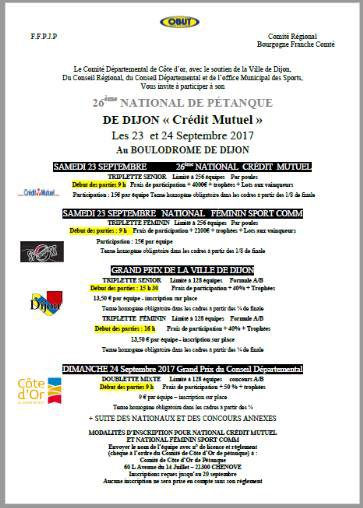 NATIONAL DE DIJON 23 ET  24 SEPTEMBRE.