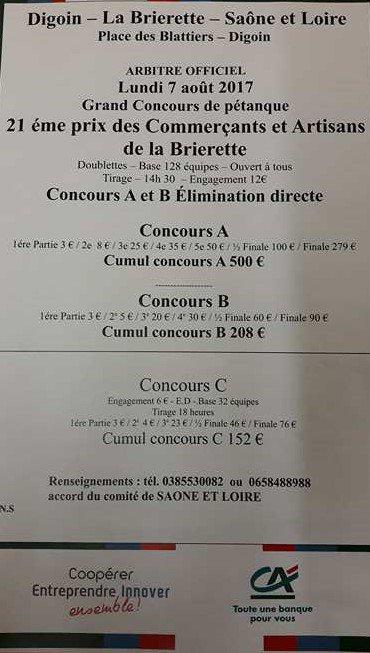 PRIX DES COMMERCANTS ET ARTISANS .LA BRIERETTE.RESULTATS.