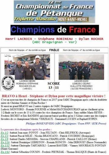 CHAMPIONNAT DE FRANCE TRIPLETTE  SENIORS.