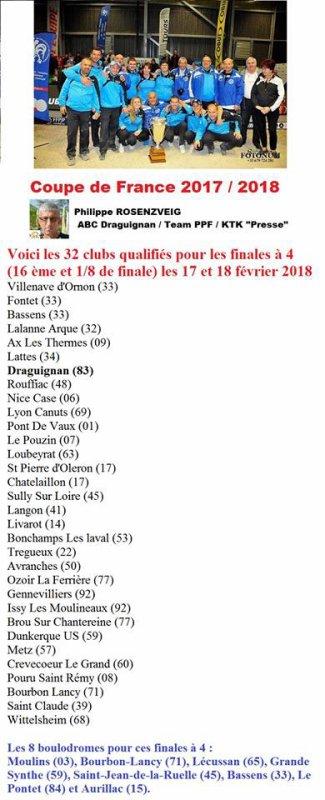 CE DIMANCHE 4 FEVRIER .VICTOIRE DE BOURBON LANCY.ET RETROUVER LES 32 CLUBS QUALIFIES.