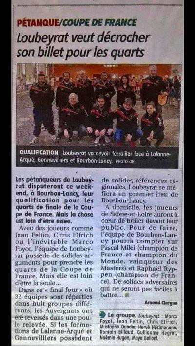 COUPE DE FRANCE. 16ème et 8ème Coupe de France Groupe de Bourbon Lancy (17 & 18 Février)