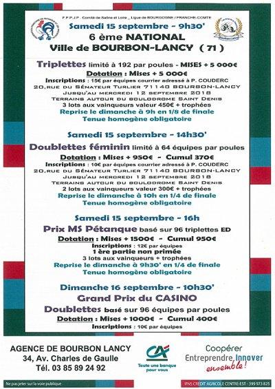 AMIS DE LA PETANQUE DE BOURBON LANCY. 6 IEME NATIONAL .CONCOURS PROPAGANDE.ET UN CONCOURS OUVERT A TOUS.