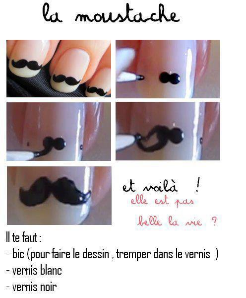 Tutoriel Nail art moustache