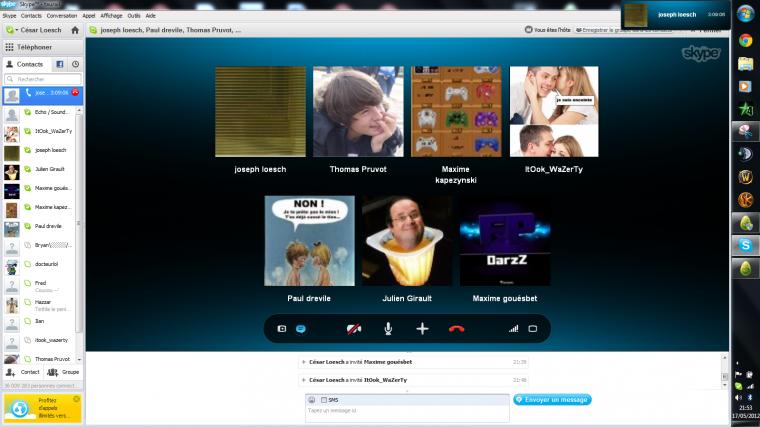 Tous les soirs sur skype !