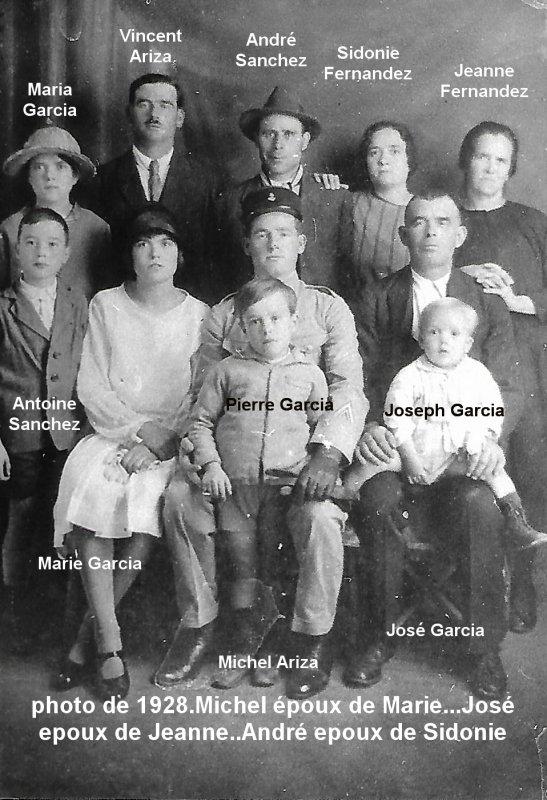 cousins germains de ma mére, Maria Fernandez -descendance Fernandez.soeur de Marianne, josé,jeanne,sidonie et ses enfants.