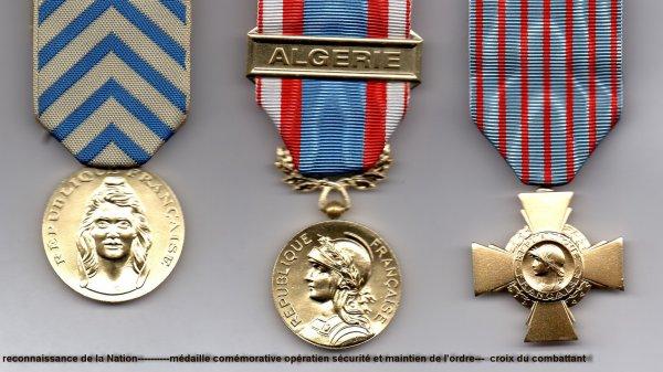 le 19 mars 2006 décoration de la croix du combatant ayant fait d'Algerie de fevrier 1954 à juin 1955 et rappelé 6 mois de juillet 1955 à décembre 1955.