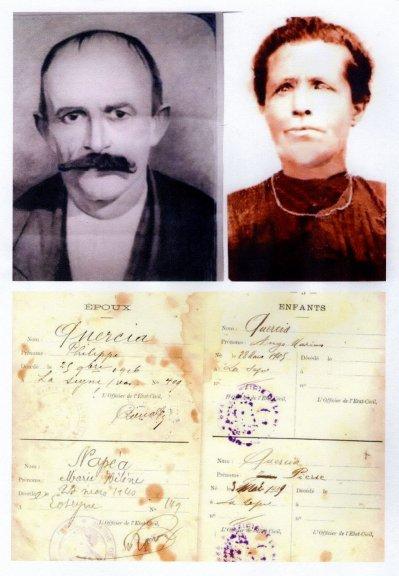 Philippe Quercia et Marie Héléne Napéa grands parents de mon époux Emile ,sont de parents inconnus.