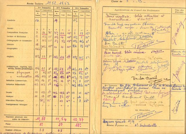 mon livret scolaire  de 5eme!certificat d'étude,brevet sportif et populaire des années 1950.