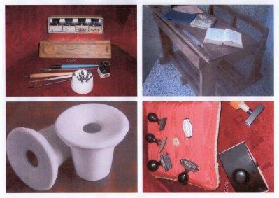 une photo d'objets anciens pour l'école,tel que le plumier,le pupitre et ses encriers ,et oui nous avions des portes plumes.