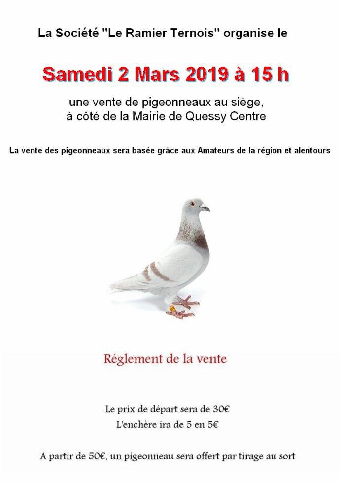 Vente de pigeonneaux 2019