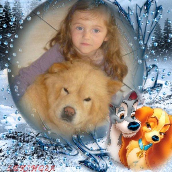 voici la chienne de ma fille elle cet vanille elle et trop gentille  et ma petite chienne djina  et ma petite fille zoé elle et douce avec les bêtes MERCI A MON AMI LE LEKING2A GROS BISOUS