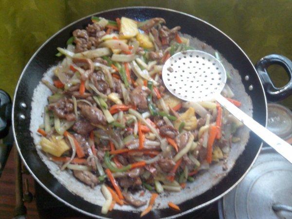 Bon app * sauté de poulet aux légumes et ananas*