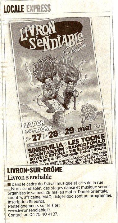 """FESTIVAL LIVRON """"S'ENDIABLE"""" AVEC SINSEMILLA ET LES TOON'S 27/05/11"""