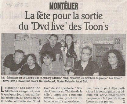 ARTICLE SUR LA SORTIE DU DVD ( MAI 2011)