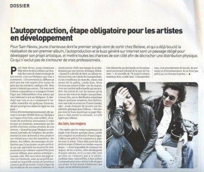 PRESSE ECRITE: INTERVIEW DE SAM NEVES PARUE DANS LE MUSIQUE INFOS N°510 / Octobre 2009