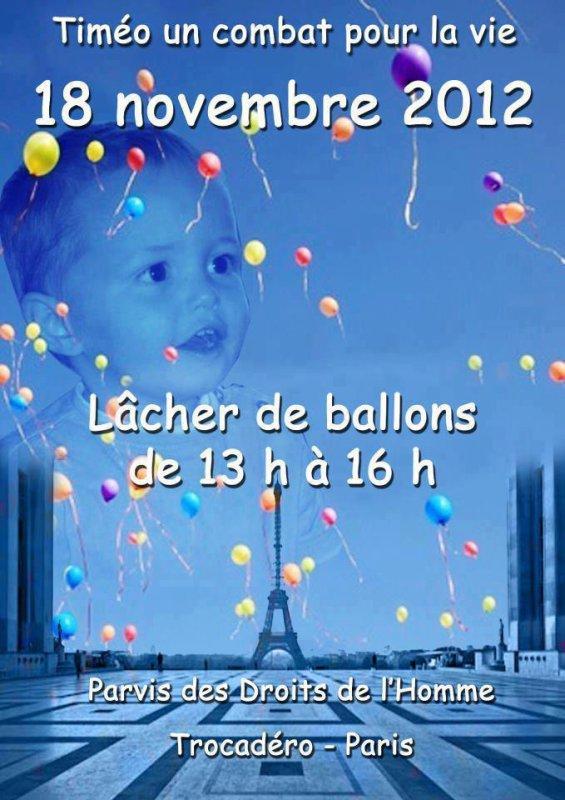 LACHER  DE BALLONS  POUR   TIMEO