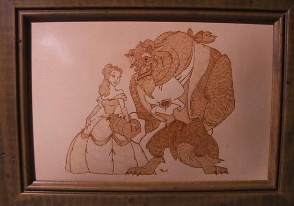 Un petit retour à la pyrogravure sur cuir avec la passion de Disney.