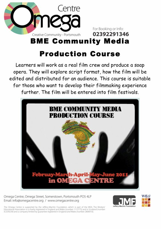 Omega Centre is starting a new film course for BME (Black and Minority Ethnic) groups.