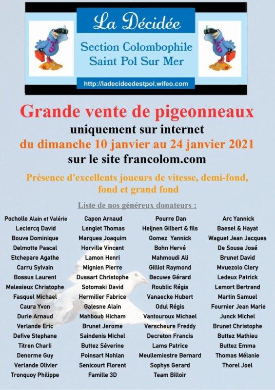La vente de La section colombophile de Saint Pol sur Mer 2021