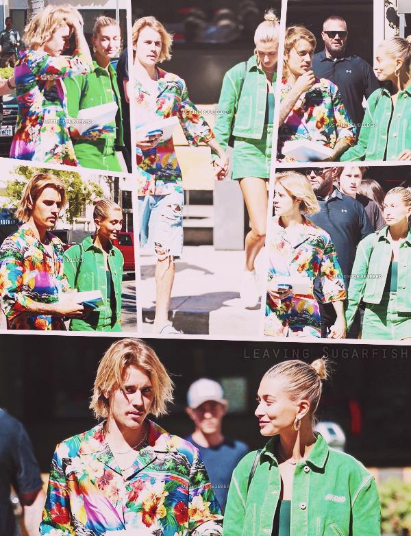 * =' 30 AUGUST ●= | Justin et Hailey Baldwin quittant le sugarfish à Beverly Hills. *