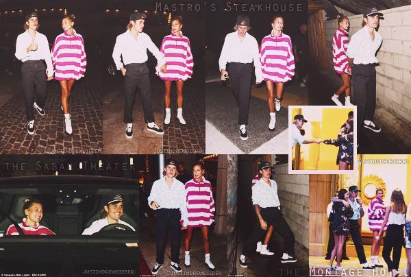 """* =' 29 AUGUST ●=   Justin et Hailey Baldwin on été vu a leurs arrivé et a leurs départs du Saban Theater à Beverly Hills, ensuite ils été au Mastro Steakhouse à Beverly Hills, puis ont finalement été aperçu a un hôtel """"The Montage Hotel"""" également à Beverly Hills . *"""
