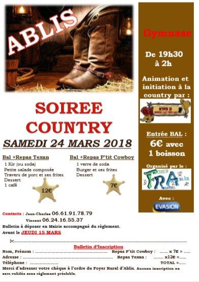 soirée Country à ABLIS Samedi 24 mars