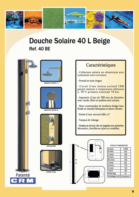 douche solaire 40l beige ref 40 be blog de crm douche solaire. Black Bedroom Furniture Sets. Home Design Ideas