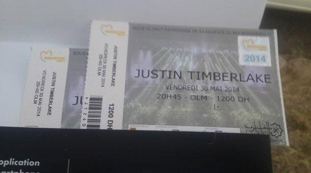 Justin Timberlake pour un spectacle au Maroc .... J'ai reçu mon invitation trop tard pas de billet d'avion réservation de billet complet très dessu !!!!