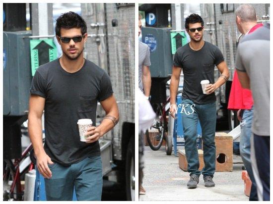Taylor sur le tournage de Tracers le 22/07/13, le 25/07/13 et le 26/07/13