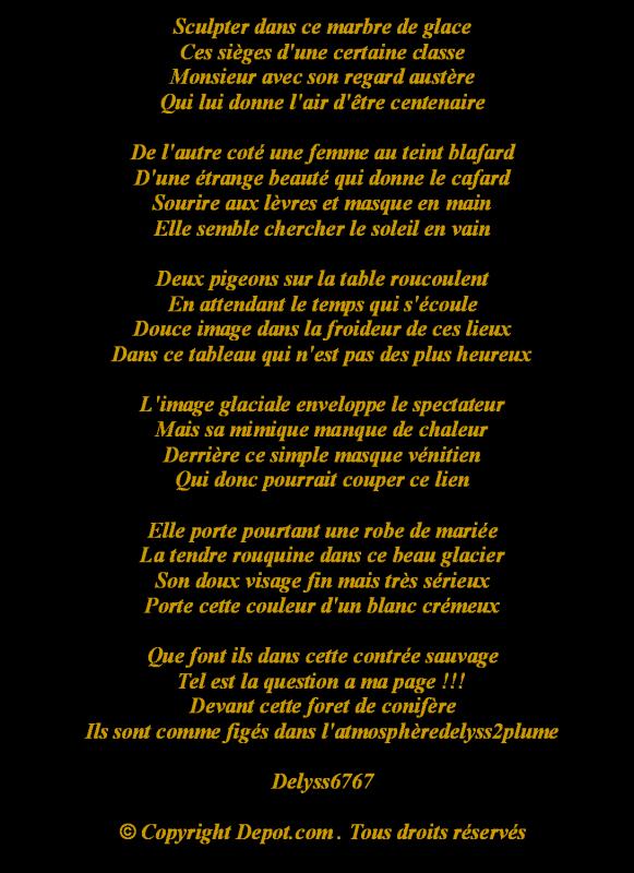 Bien connu Poeme De DELYSS6767 - BEAUTE SUR GLACE - Le CERCLE du PAUS'LECTUR PY13