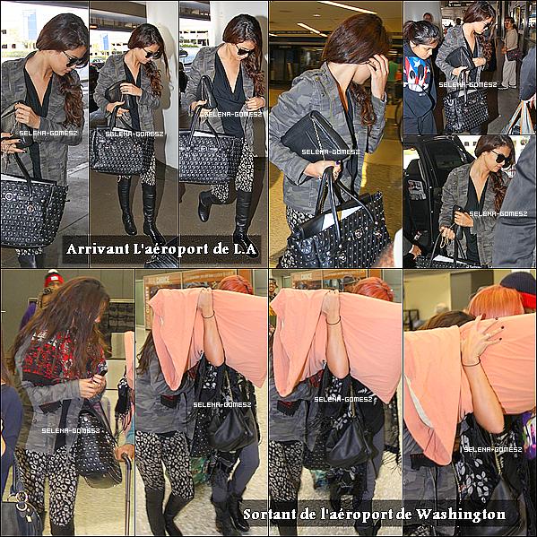 . 08.10.13 : Selena retourne sur son Stars Dance Tour, Elle à était vue prendre un avion à L.A + Elle est arriver quelques heures plus tard à l'aéroport de Washington .