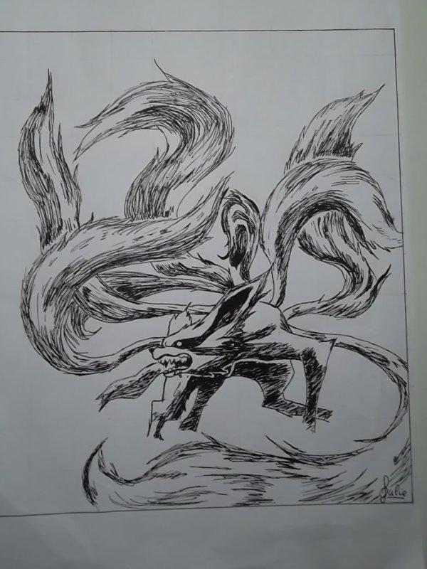 Le d mon renard neuf queues mes dessins peintures et autres - Coloriages naruto demon renard ...