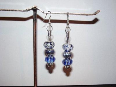 """Boucles d'Oreilles et/ou Bracelet """"Bleu Azur"""""""