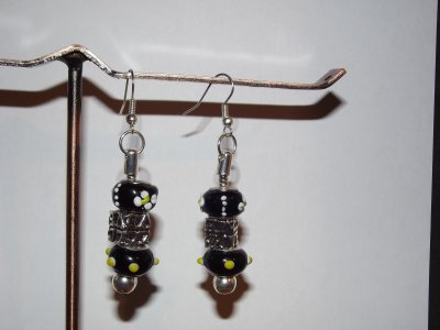 "Boucles d'Oreilles et Bracelet ""Love Black and White"""