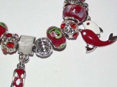 """Boucles d'Oreilles et/ou Bracelet """"Le Rouge et le Vert"""""""