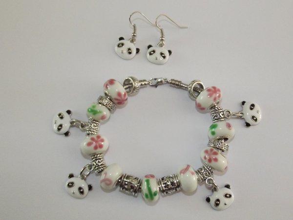 """Parure : Boucles d'Oreilles et/ou Bracelet """"Pandas, Petits Oursons de Chine"""""""