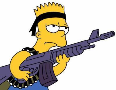 Homer simpson et bart simpson avec un fusil chacun et - Marge simpson et bart ...