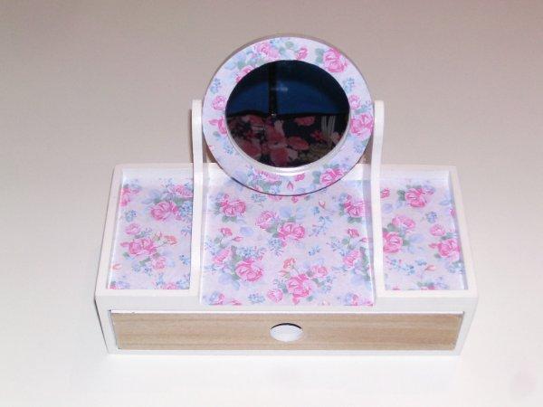 boîte à bijoux shabby en bois blanc pour femme avec miroir pour décoration maison