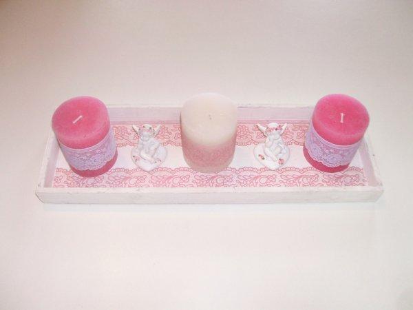 idée cadeau plateau bougies en bois blanc déco shabby dentelle