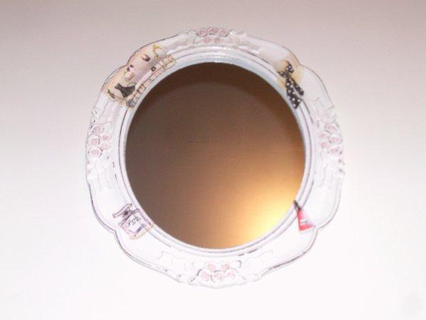 miroir mural en bois blanc originale