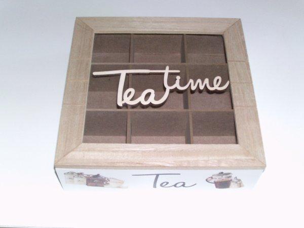 boîte à thé décorative blanche et marron