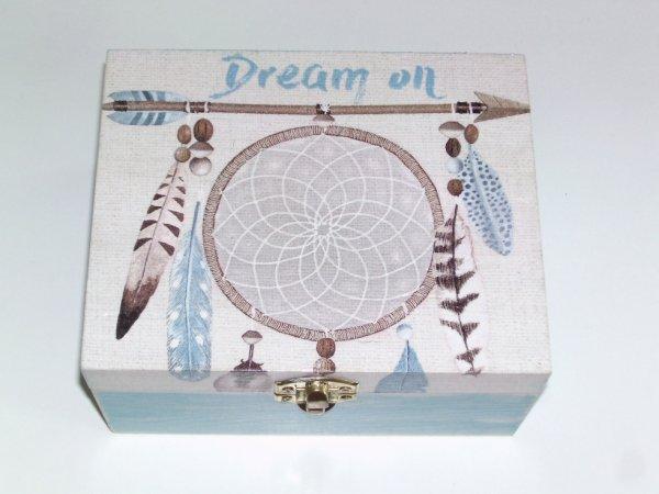 boîte à bijoux attrape rêve gris et bleu