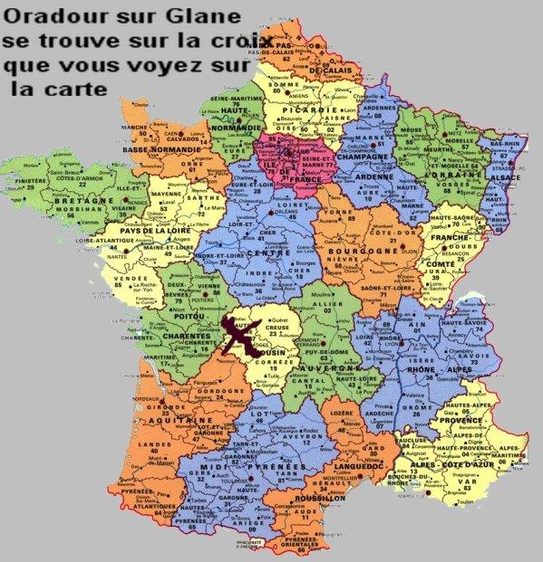Carte de France ou se situe Oradour sur Glane - Bienvenue sur le blog de catherine0045