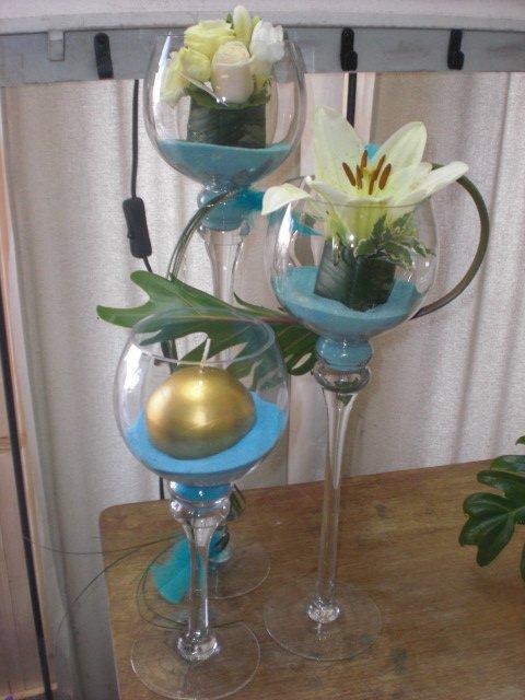 Mariage cr me et bleu centre de table mes cr ations florals ma d co le home - Centre de table bleu turquoise ...