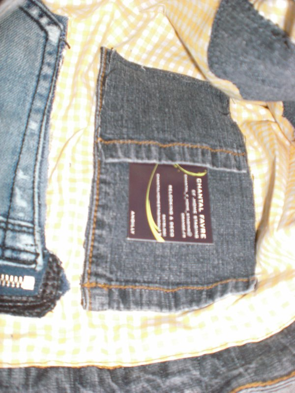 sac en jean interieur vichy jaune et blanc