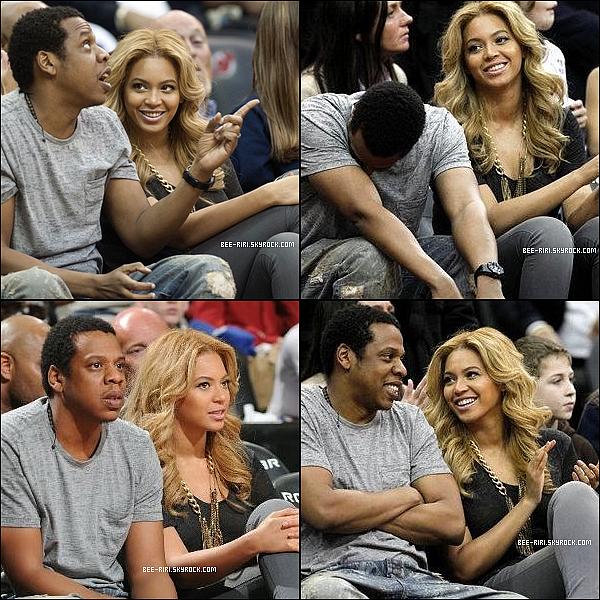 .  27.02.11 : Béyonce à été aperçut aux Bahamas, sur la plage. 28.02.11 : Beyoncé et Jay-Z assiste à un match des Jersey Nets vs. Phoenix Suns. .